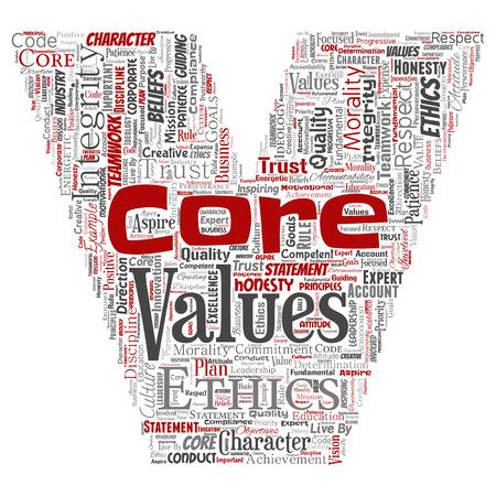 Vector conceptual core values integrity ethics
