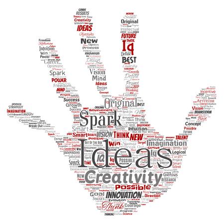Vector conceptual creative idea brainstorming human hand print stamp