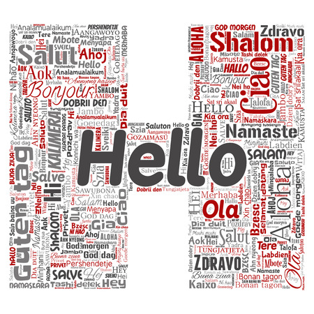 Concept or conceptual letter font H hello or greeting international tourism word cloud in different languages or multilingual. Collage of world, foreign, worldwide travel translate, vacation vector illustration.