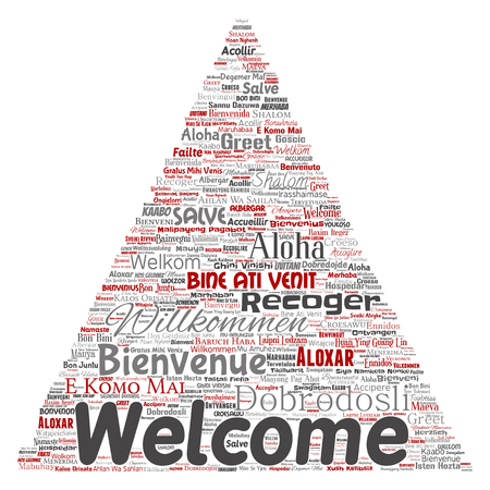 Conceptual abstract welcome or greeting international triangle arrow word cloud in different languages or multilingual. Collage of world, foreign, worldwide travel translate, vacation tourism vector. Çizim