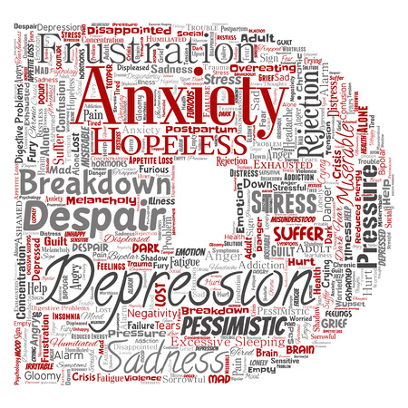 Vector conceptual depression or mental emotional disorder problem letter font D word cloud isolated background. Collage of anxiety sadness, negative sad, despair, unhappy, frustration symptom Vectores