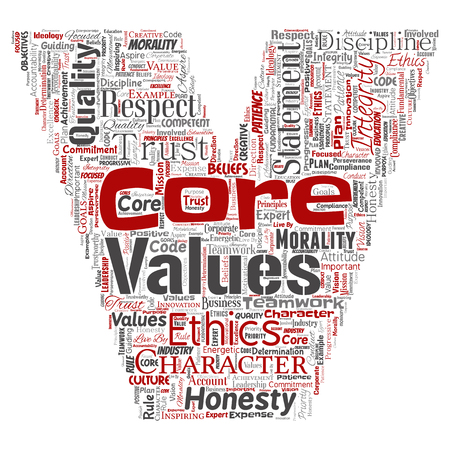 Vector conceptual core values integrity ethics letter font V concept word cloud isolated background. Collage of honesty quality trust, statement, character, perseverance, respect and trustworthy Illustration