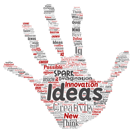 Vector conceptual creative idea brainstorming human hand print stamp word cloud isolated background. Collage of spark creativity original, innovation vision, think, achievement or smart genius concept.