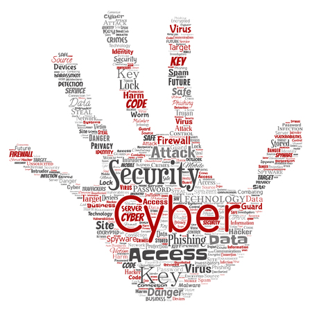 Vector conceptual cyber security online access technology hand print stamp word cloud isolated background. Collage of phishing, key virus, data attack, crime, firewall password, harm, spam protection. Illustration