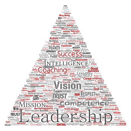 Vector conceptual business leadership strategy, management value triangle arrow word cloud isolated background. Collage of success, achievement, responsibility, intelligence authority or competence.