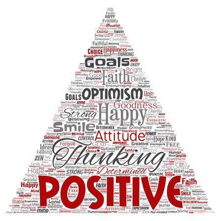 Vector conceptual positive thinking, happy strong attitude triangle