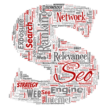 Conceptual search results engine optimization top rank seo letter font S online internet word cloud text isolated on background. Marketing strategy web page content relevance network concept