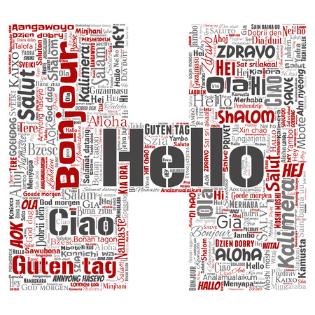 Vector concept or conceptual letter font H hello or greeting international tourism word cloud in different languages or multilingual. Collage of world, foreign, worldwide travel translate, vacation