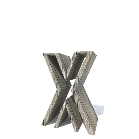 Conceptual wood or wooden brown font or type, timber or lumber industry piece isolated on white background. Educative hadwood material, surface vintage old handmade sculpted object as 3D illustration Stock Photo