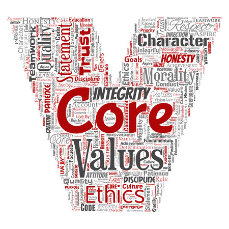Conceptual core values integrity ethics letter font C concept word cloud isolated background. Collage of honesty quality trust, statement, character, perseverance, respect and trustworthy Stock Photo