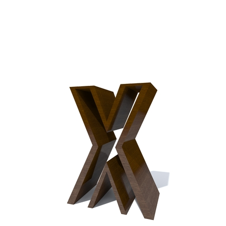 Conceptual wood or wooden brown font or type, timber or lumber industry piece isolated on white background. Educative hadwood material, smooth surface mahogany handmade sculpted 3D illustration object