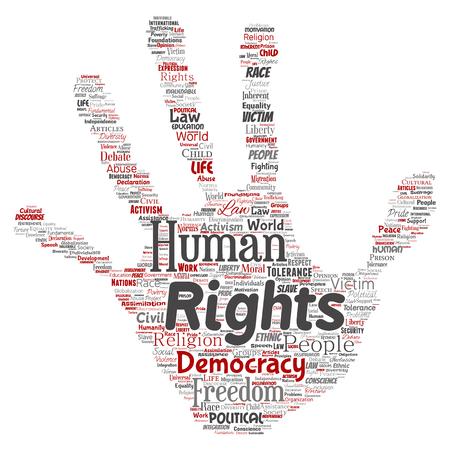 Vector la libertà politica concettuale dei diritti umani, fondo isolato nuvola di parola del bollo della stampa della mano della democrazia. Collage di tolleranza dell'umanità, principi di legge, giustizia delle persone o concetto di discriminazione