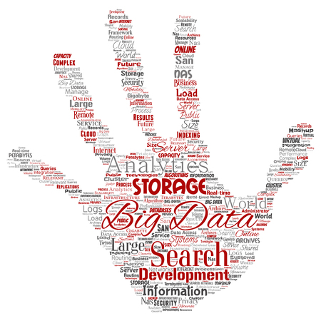 Vector conceptual big data large size storage systems hand print stamp word cloud isolated background. Collage of search analytics world information, nas development, future internet mobility concept