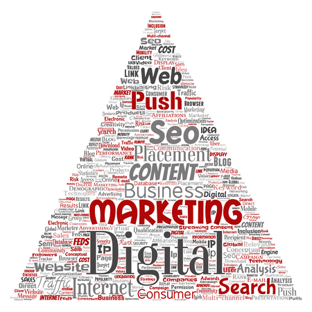 Vector concept or conceptual digital marketing seo traffic triangle arrow word cloud isolated background. Collage of business, market content, search, web push placement or communication technology Illustration