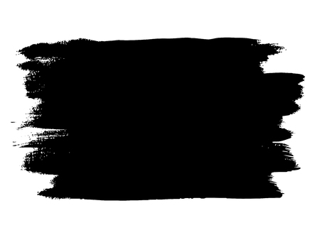Vector artistic freehand black paint, ink or acrylic hand made creative brush stroke background isolated on white as grunge or grungy art spray effect, education abstract elements dark frame design Vectores