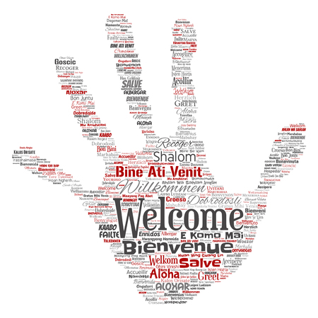 Vector conceptual abstract welcome or greeting international hand print stamp word cloud in different languages or multilingual. Collage of world, foreign, worldwide travel translate, vacation tourism