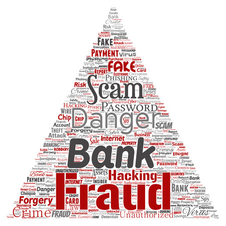 Vector conceptual bank fraud payment scam danger triangle arrow word cloud isolated background. Collage of password hacking, virus fake authentication, illegal transaction or identity theft concept Ilustração
