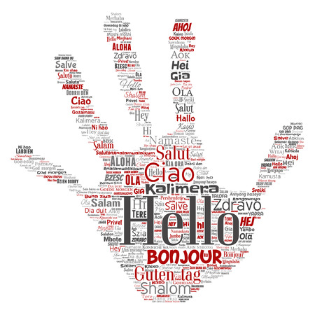 Vector concept or conceptual hand print stamp hello or greeting international tourism word cloud in different languages or multilingual. Collage of world, foreign, worldwide travel translate, vacation