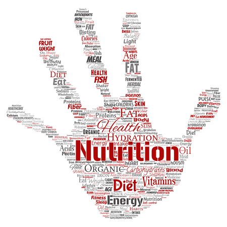 Conceptual nutrition health diet hand print stamp word cloud isolated background. Collage of carbohydrates, vitamins, fat, weight, energy, antioxidants beauty mineral, protein medicine concept 写真素材