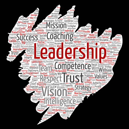 Conceptual business leadership strategy, management value paint brush paper word cloud isolated backdrop.