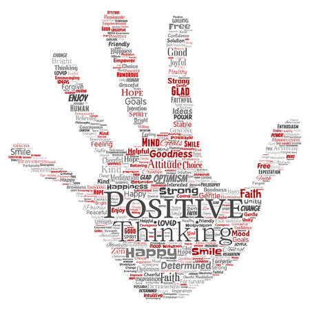 Conceptual positive thinking, happy strong attitude hand print stamp word cloud isolated backdrop.
