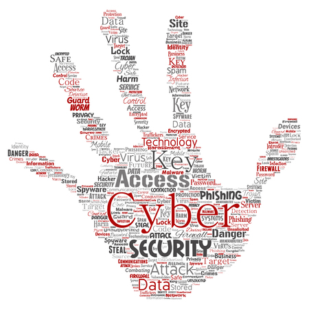 Conceptual cyber security online access technology hand print stamp word cloud isolated backdrop.
