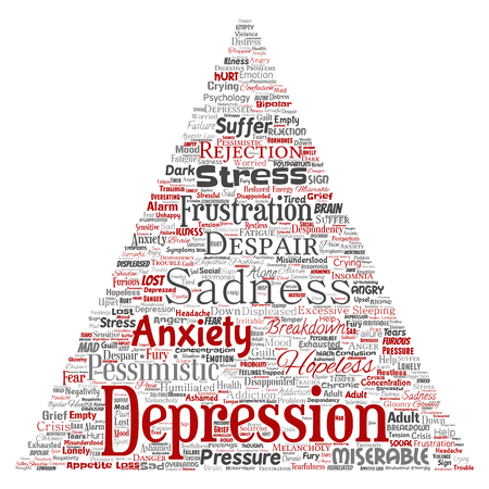 Vector conceptual depression or mental emotional disorder problem triangle arrow word cloud isolated background. Collage of anxiety sadness, negative sad, despair, unhappy, frustration symptom Imagens - 97382688