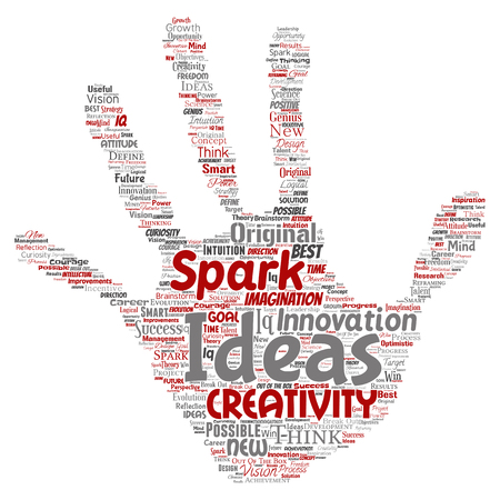 Vector conceptual creative idea brainstorming human hand print stamp word cloud isolated background.