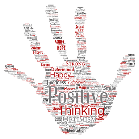 Vector conceptual positive thinking, happy strong attitude hand print stamp word cloud isolated on background. Collage of optimism smile, faith, courageous goals, goodness or happiness inspiration Illustration