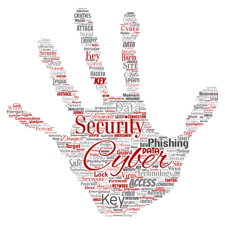 Conceptual cyber security online access technology hand print stamp word cloud isolated background. Collage of phishing, key virus, data attack, crime, firewall password, harm, spam protection Stock Photo