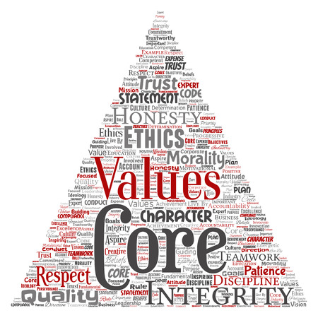 Vector conceptual core values integrity ethics triangle arrow concept word cloud isolated background. Collage of honesty quality trust, statement, character, perseverance, respect and trustworthy