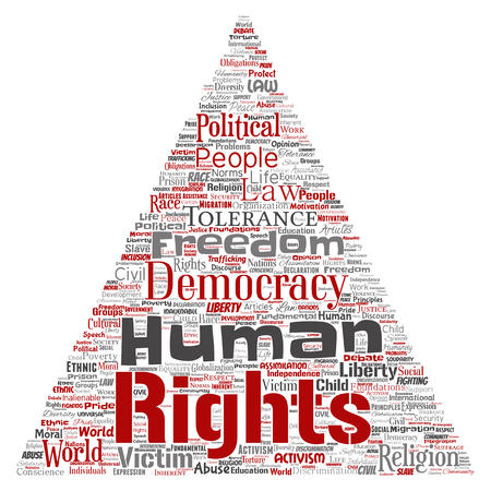 Vector conceptual human rights political freedom, democracy triangle arrow word cloud isolated background. Collage of humanity tolerance, law principles, people justice or discrimination concept. Illustration