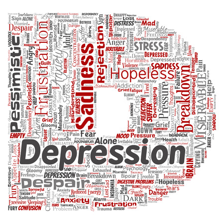 Vector conceptual depression or mental emotional disorder problem letter font D word cloud isolated background. Collage of anxiety sadness, negative sad, despair, unhappy, frustration symptom.