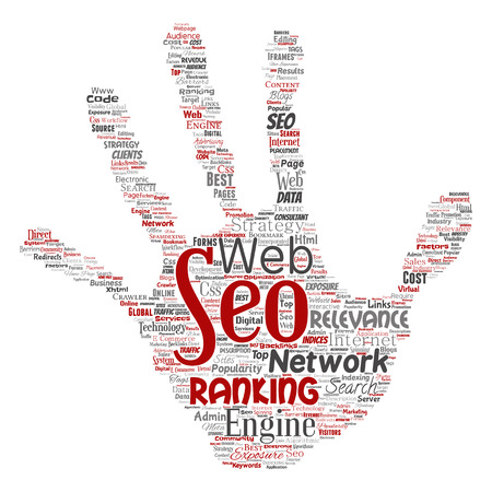 Vector conceptual search results engine optimization top rank seo hand print stamp online internet word cloud text isolated on background. Marketing strategy web page content relevance network concept.