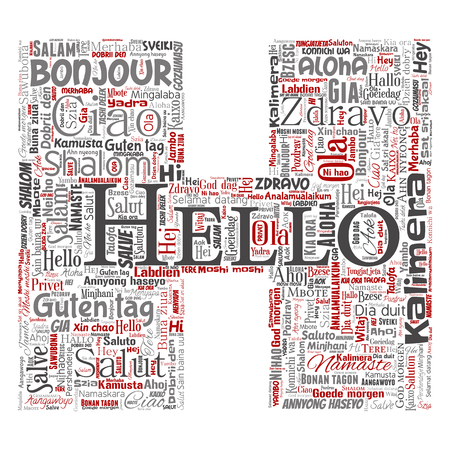 Vector concept or conceptual letter font H hello or greeting international tourism word cloud in different languages or multilingual. Collage of world, foreign, worldwide travel translate, vacation. Vectores
