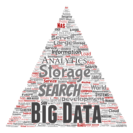 Conceptual Big Data Large Size Storage Systems Triangle Arrow Word Cloud  Isolated Background. Collage Of