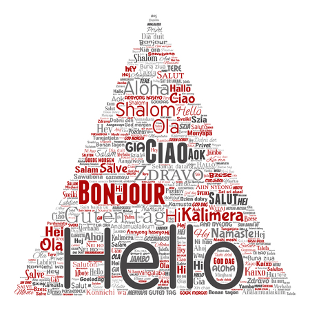 Vector concept or conceptual triangle arrow hello or greeting international tourism word cloud in different languages or multilingual. Collage of world, foreign, worldwide travel translate, vacation Vettoriali