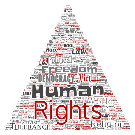 Vector conceptual human rights political freedom, democracy triangle arrow word cloud isolated background. Collage of humanity tolerance, law principles, people justice or discrimination concept