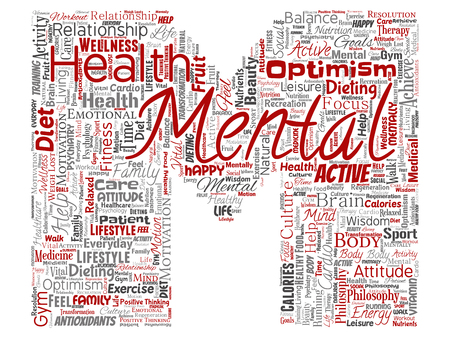 Vector conceptual mental health or positive thinking letter font M word cloud isolated background. Collage of optimism, psychology, mind healthcare, thinking, attitude balance or motivation text Stock Illustratie