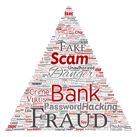 A Vector conceptual bank fraud payment scam danger triangle arrow word cloud isolated background.