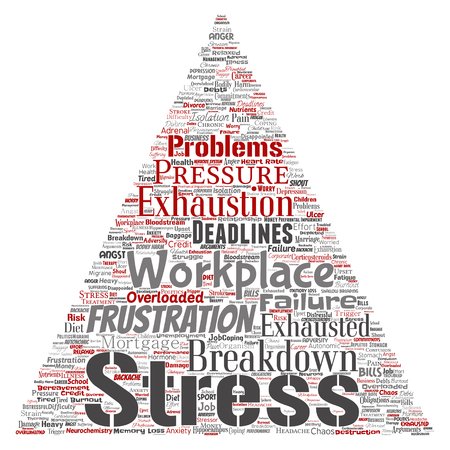 Vector conceptual mental stress at workplace or job pressure human triangle arrow word cloud isolated background. Collage of health, work, depression problem, exhaustion, breakdown, deadlines risk Vettoriali