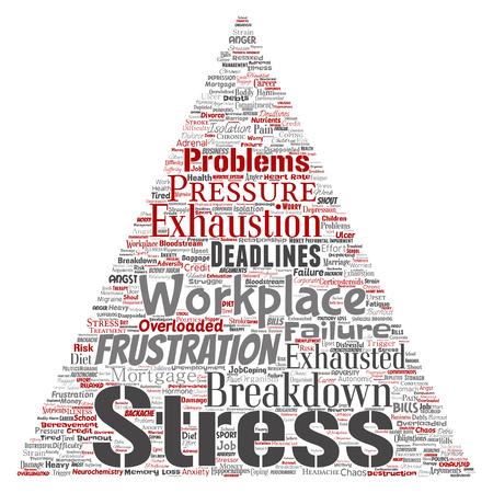 Vector el estrés mental conceptual en el lugar de trabajo o la presión del trabajo humano triángulo flecha palabra nube aislado fondo. Collage de salud, trabajo, problema de depresión, agotamiento, desglose, riesgo de plazos Ilustración de vector