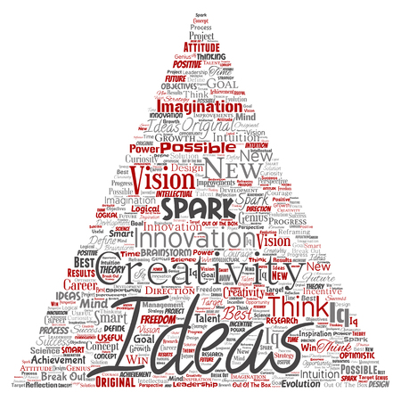 Vector conceptual creative idea brainstorming human triangle arrow word cloud isolated background. Collage of spark creativity original, innovation vision, think, achievement or smart genius concept