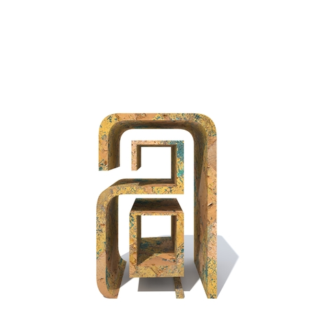 Conceptual old rusted metal font or type, iron or steel industry piece isolated white background. Educative rusty material, aged vintage surface, worn damaged paint as 3D illustration rough surface