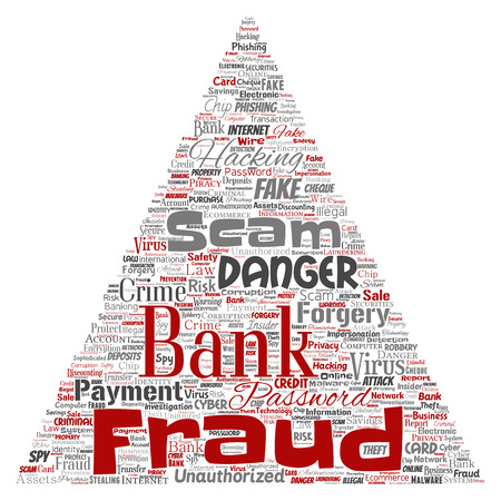 Vector conceptual bank fraud payment scam danger triangle arrow word cloud isolated background. Collage of password hacking, virus fake authentication, illegal transaction or identity theft concept  イラスト・ベクター素材