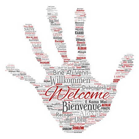 Vector conceptual abstracto bienvenida o saludo internacional mano impresión sello palabra nube en diferentes idiomas o multilingüe. Collage de traducción de viajes mundiales, extranjeros y mundiales, turismo vacacional