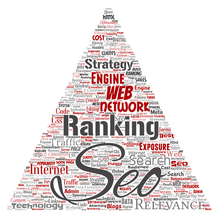 Vector conceptual search results engine optimization top rank seo triangle arrow online internet word cloud text isolated on background. Marketing strategy web page content relevance network concept Stok Fotoğraf - 99163535