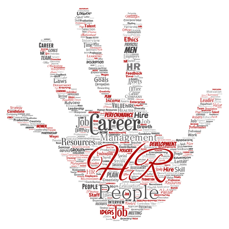 Vector concept conceptual hr or human resources career management hand print stamp word cloud isolated background. Collage of workplace, development, hiring success, competence goal, corporate or job Vettoriali