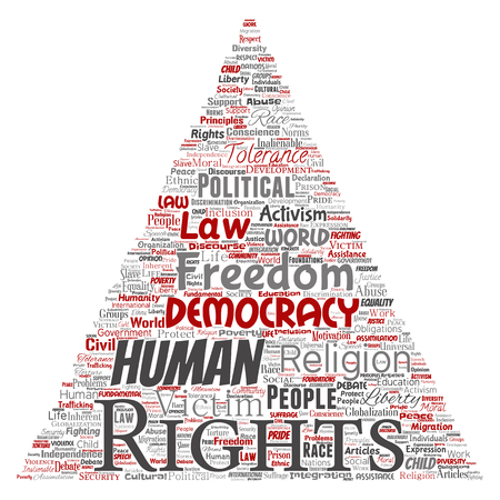 Vector conceptual human rights political freedom, democracy triangle arrow  word cloud isolated background. Collage of humanity tolerance, law principles, people justice or discrimination concept Illustration