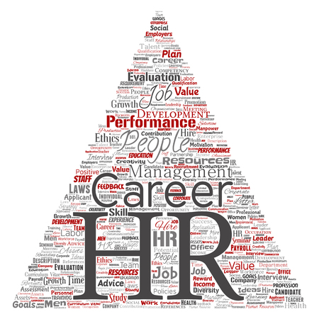 Vector concept conceptual hr or human resources career management triangle arrow word cloud isolated background. Collage of workplace, development, hiring success, competence goal, corporate or job Illustration
